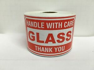 4 Rolls 3x5 Glass Handle With Care Shipping Stickers 500 Labels Each Roll