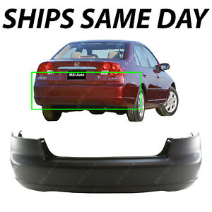 New Primered Rear Bumper Cover Fascia For 2001 2003 Honda Civic Sedan