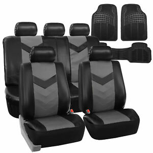 Faux Leather Car Seat Covers For Auto Gray Black W Heavy Duty Floor Mats