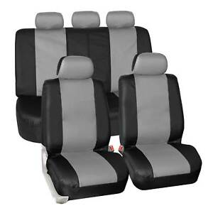 Faux Synthetic Leather Car Seat Covers Airbag Split Ready Gray Black