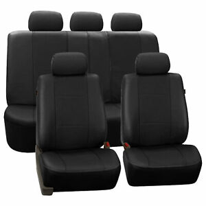 Faux Synthetic Leather Car Seat Covers For Auto Universal Fit Solid Black