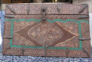 Antique Very Old Tibetan Wooden Chest Box Nepal