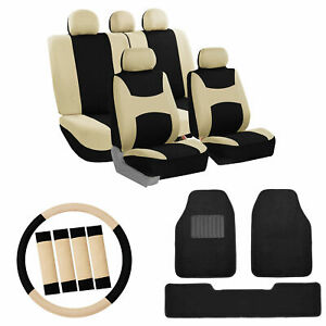 Car Seat Covers Beige Set For Auto W Steering Belt Pad Ca With Floor Mats