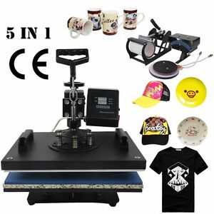 5 In 1 Transfer Sublimation T shirt Mug Hat Plate Cap Heat Press Machine