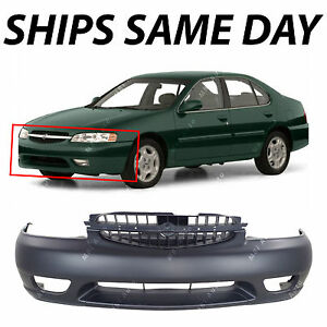 New Primered Front Bumper Cover Fascia For 2000 2001 Nissan Altima W Fog