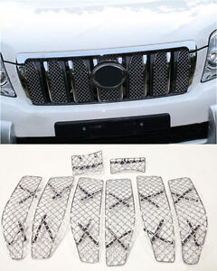 For Toyota Prado Fj150 2010 2013 8pcs Honeycomb Front Grill Grille Combo Insert