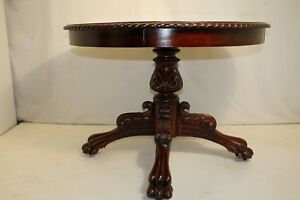 Great Federal Mahogany American Made Heavily Carved Round Table 19th C