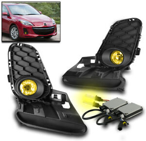 2012 2013 Mazda 3 Mazda3 Yellow Bumper Driving Fog Lights W switch 3000k Hid Kit
