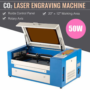 50w Co2 Laser Engraving Machine Engraver Cutter With Auxiliary Rotary