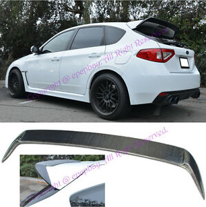 Fit 08 14 Impreza Wrx Sti 5drs Wagon Carbon Fiber Add On Spoiler Wing Body Kit