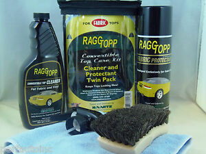 Raggtopp Fabric Protectant Cleaner Kit Horse Hair Brush 2 Microfiber Carry Bag