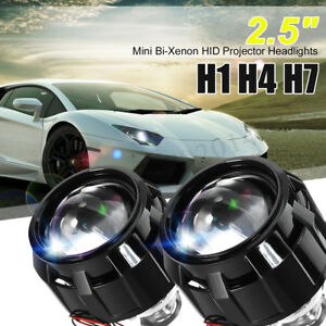 2x Lhd 2 5 Car Mini Hid Bi Xenon Projector Halo Lens Kit Headlight Shroud H1