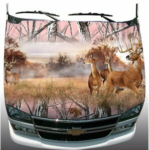 Pink Snow Camouflage Deer Buck Hunting Hood Wrap Sticker Vinyl Decal Graphic