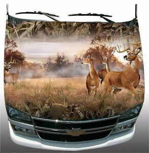 Shadow Grass Camouflage Deer Buck Hunting Hood Wrap Sticker Vinyl Decal Graphic