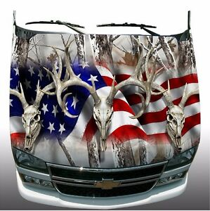 Snow Camo American Flag Deer Skull Hunting Hood Wrap Sticker Vinyl Decal Graphic
