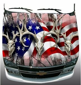 Pink Camo American Flag Deer Skull Hunting Hood Wrap Sticker Vinyl Decal Graphic