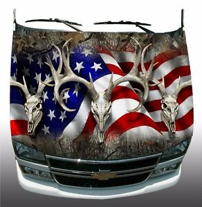 Forest Camo American Deer Skull Hunting Hood Wrap Sticker Vinyl Decal Graphic