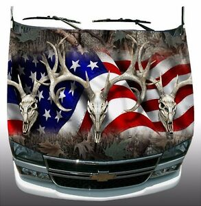 Oak Camo American Deer Skull Hunting Hood Wrap Sticker Vinyl Decal Graphic