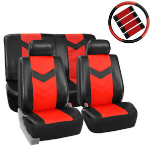 Pu Leather Front Bucket Seat Covers For Sedan Suv Auto Univeresal Red Black