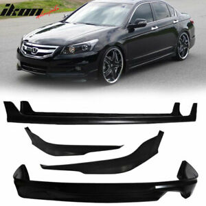Fits 11 12 Honda Accord 4dr Mugen Style Front Lip Side Skirts Rear Lip