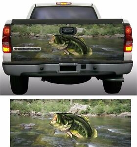 Large Mouth Bass Fish Fishing Truck Tailgate Vinyl Graphic Decal Wraps
