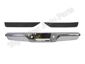 New Rear Step Bumper Chrome Face Bar Top Pad Set For 1997 2004 Dodge Dakota