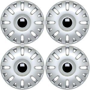 4pc Set Hub Caps Abs Silver 15 Inch Fits Vw Volkswagen Wheel Covers Cap Cover