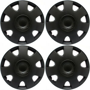 Fits Vw Volkswagen 4 Pc Set Hub Caps Black Matte 15 Inch Wheel Covers Cap Cover