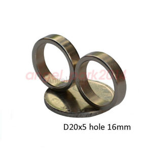 5 50pcs 20mm X 5mm Hole 16mm Ring Round Neodymium Permanent Magnets N52