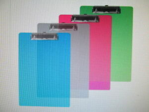 Plastic Clip Board Standard Size Low Profile Assorted Colors Lot Of 12