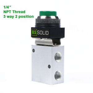 U s Solid 1 4 Pneumatic Control Mechanical Valve 3 Way 2 Position Green Button