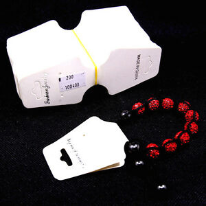Necklace Earring Jewelry Tag White Display Card Price Foldable Tag 200 Pcs