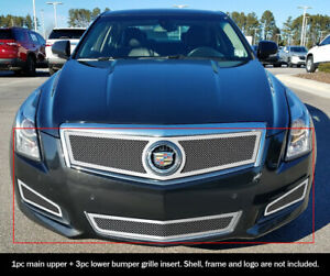 Fit 2013 2014 Cadillac Ats W Fog Light Cover Stainless Steel Mesh Grill Combo