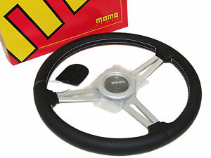 Momo Steering Wheel Retro 360mm leather white Stitch silver Spoke