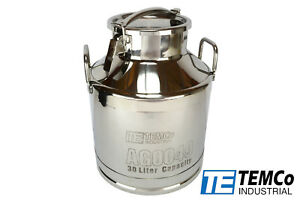 Temco 30 Liter 8 Gallon Stainless Steel Milk Can Wine Pail Bucket Tote Jug