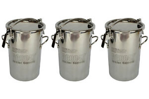3x Temco 10 Liter 2 5 Gallon Stainless Steel Milk Can Wine Pail Bucket Tote Jug