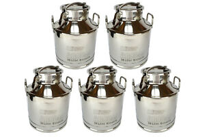 5x Temco 30 Liter 8 Gallon Stainless Steel Milk Can Wine Pail Bucket Tote Jug