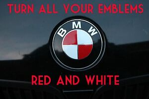 Turn Your Bmw Emblem Red White Bmw Colored Emblem Roundel Overlay