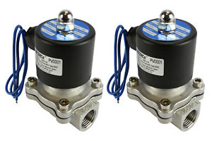 2 Lot 1 2 Bspp Electric Stainless Steel Solenoid Air Water Valve Nc 12v Dc