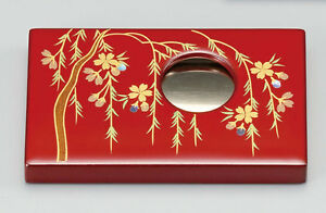 Japanese Urushi Lacquered Business Card Holder Makie Weeping Cherry Tree Red