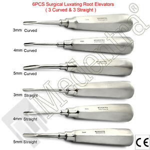 Luxating Extraction Instrument Kit For Broken Root And Teeth straight And Curved