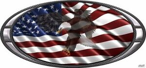American Flag Flying Eagle Oval Frame Decal Camper Rv Motor Home Mural Graphic