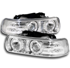 1999 2002 Silverado 2000 2006 Tahoe Suburban Chrome Projector Halo Led Headlight