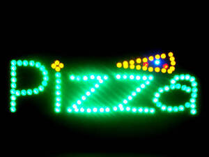 Ultra Bright Led Neon Light Animated Hot Pizza Slice Open Sign Lb144
