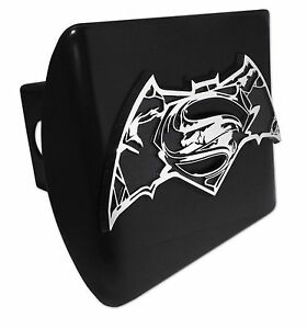 Superman Batman Chrome Black Metal Hitch Cover distressed Dc Comics Licensed