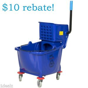 Industrial Lavex Janitorial Blue 36 Quart Mop Bucket Wringer Combo With Bonus