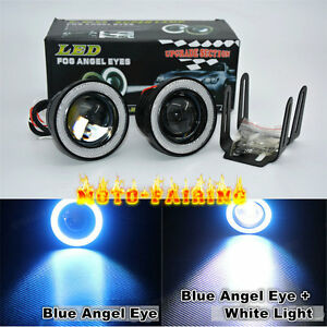 Pair 3 0 Led Fog Lights Projector With Cob Blue Angel Eye Halo Rings High Power