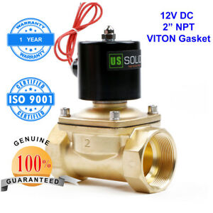 U s Solid 2 Brass Electric Solenoid Valve 12v Dc Normally Closed Water Air Oil