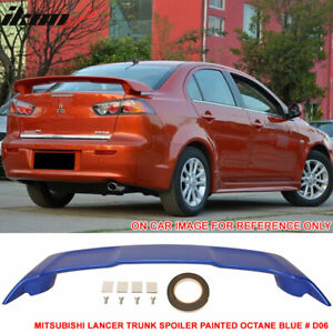 Fit For 08 17 Mitsubishi Lancer Oe Trunk Spoiler Painted Octane Blue D06 Abs
