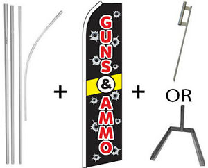 Guns Ammo Kit 16ft Pole Set Super Flag Ground Spike Or Tire Mount Flutter